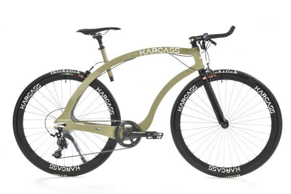 photo entière du vélo karcass modèle KC5 couleur kaki vue de profil fond blanc