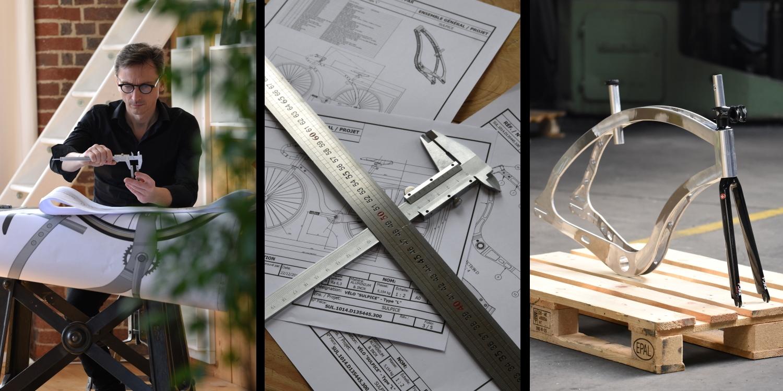 photo en 3 partie représentant l'esprit de karcass, processus de conception, processus de production et cadre d'un vélo posé sur une palette europe